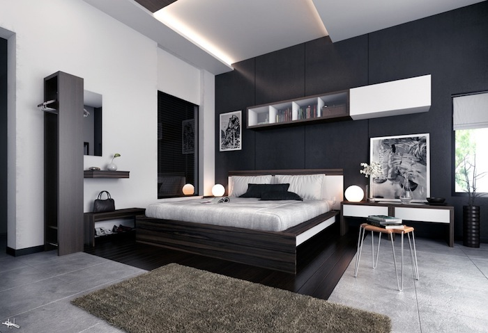 wandfarbe anthrazit, graue fliesen, flauschiger teppich, schlafzimmer deko