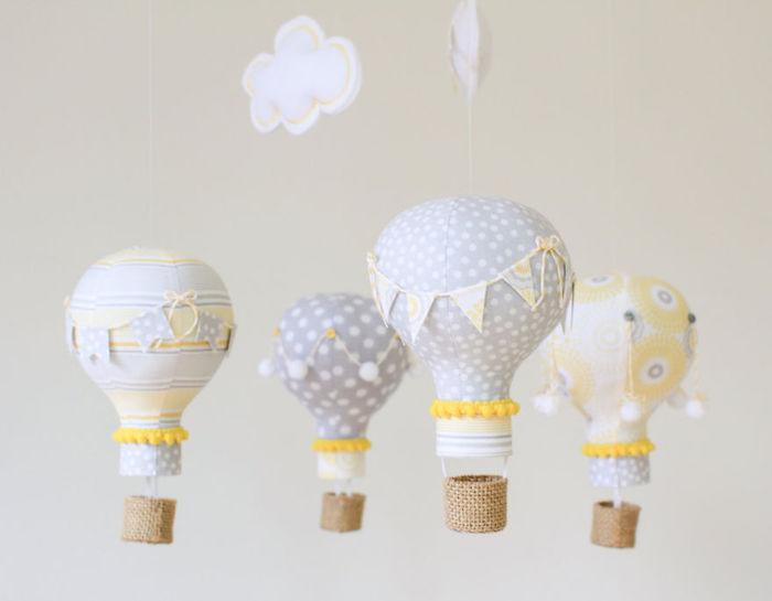 graue und weiße und gelbe kleine ballons aus papier und kleine weiße diy wolken aus papier, altes papier recyceln ideen