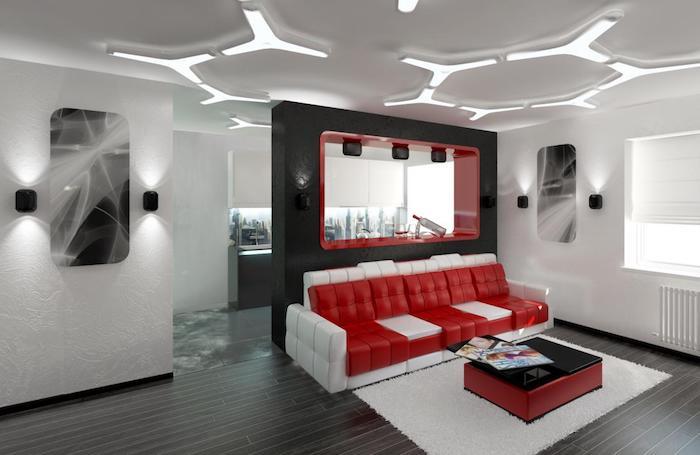 decke mit led beleuchtung, welche farbe pafft zu grau, sofa in weiß und rot