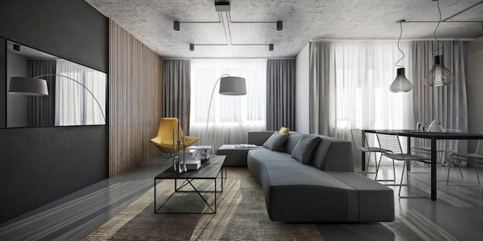 welche farbe passt zu grau, großes sofa, gelber designer sessel, eckiger spiegel