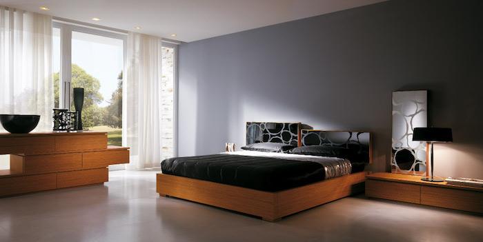 welche farbe pafft zu grau, schlafzimmer einrichtungsideen, möbel set in schwarz und holz, dekoartikel