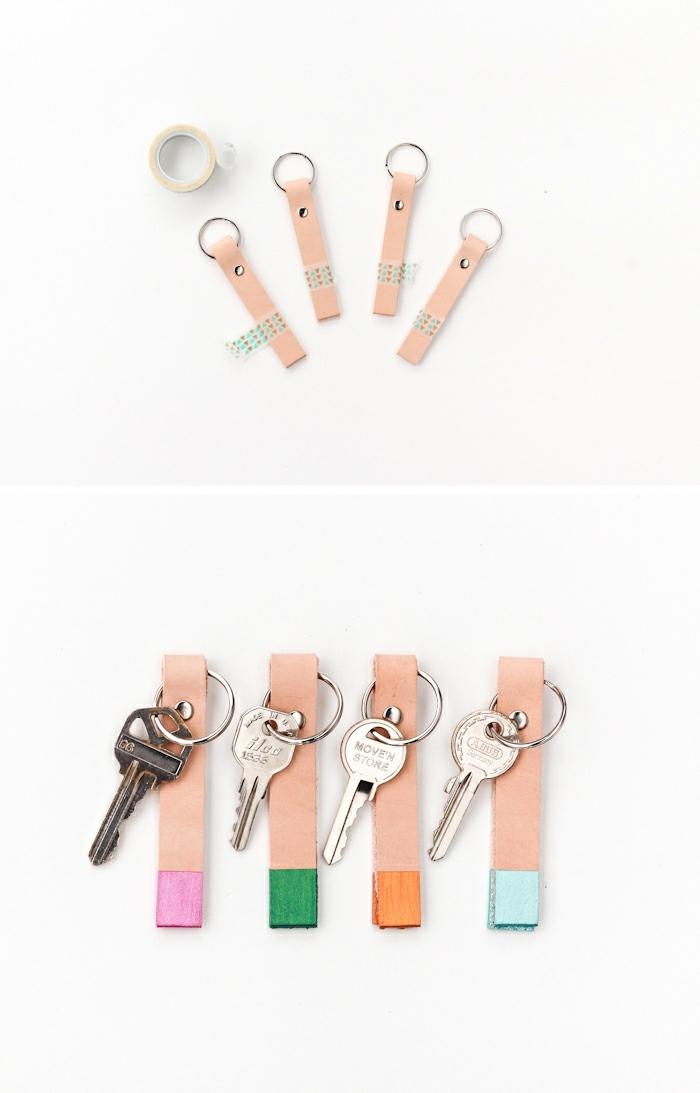 wie die vier DIY Schlüsselanhänger zu färben ohne die ganze Oberfläche schmutzig zu machen