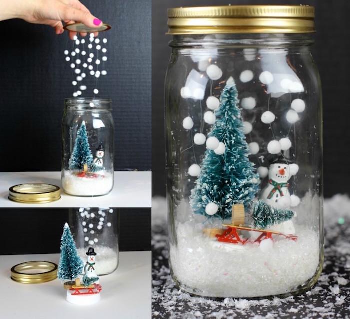 winterdeko basteln, einmachglas mit tannenbaum und schneemann, künstlicher schnee