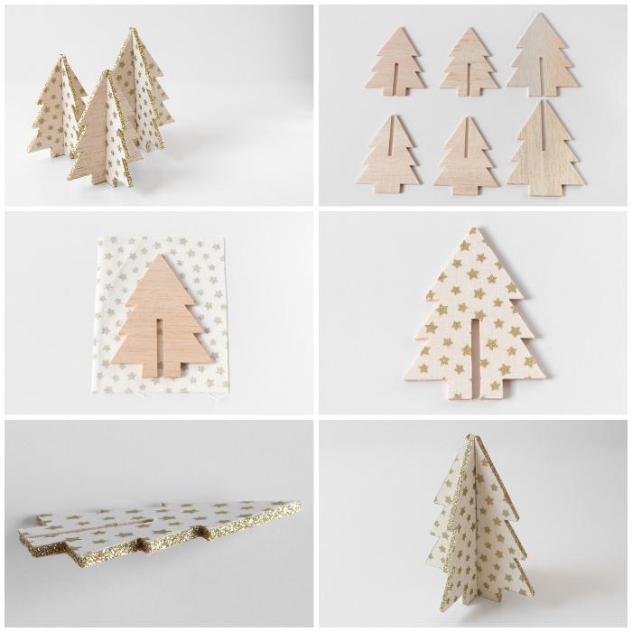 weihnachtsdeko einfach, winterdeko basteln, kleine tannenbäume aus holz