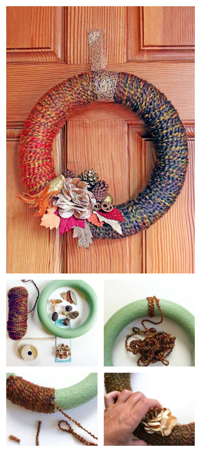 winterdeko basteln, türkranz machen, buntem garn, getrocknete herbstblätter
