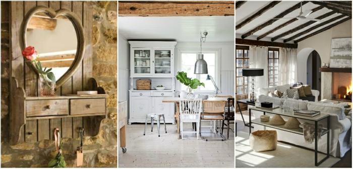 dekorationen landhausmöbel wohnzimmer, collage aus drei bildern, herzspiegel, wohnraum, küche, wohnküche