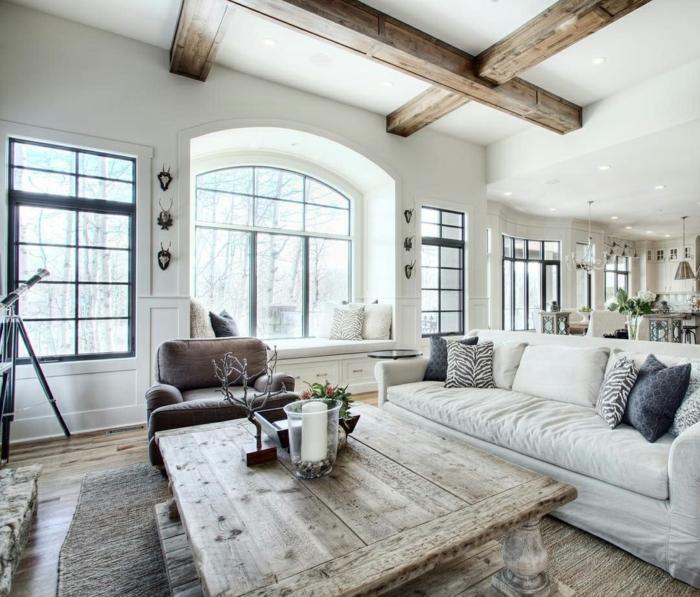 die moderne landhausmöbel sind vintage kombiniert mit simplen designs, tisch, sessel, sofa, sitzecke am fenster