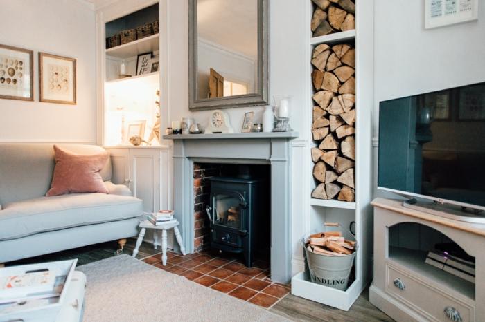 wohnzimmermöbel idee, viele perspektive von einem zimmer, sofa, kissen, fernseher modern, kamin, holz abstellraum