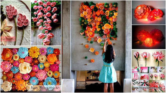 wohnzimmer wanddeko basteln, papierblumen mit beleuchtung, mobile aus rosen