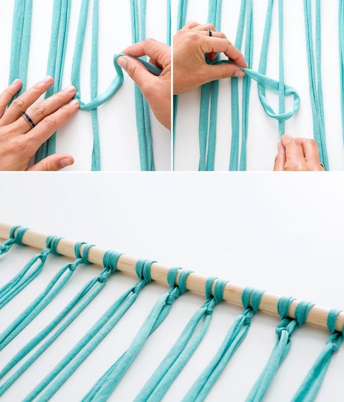 wohnzimmer wanddeko basteln, holzstab, streifen blauer stoff, makramee flechten