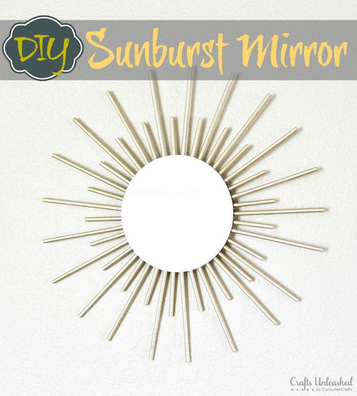 wohnzimmer wanddeko, spiegelrahmen selber machen, sonnenspiegel mit rahmen aus holz