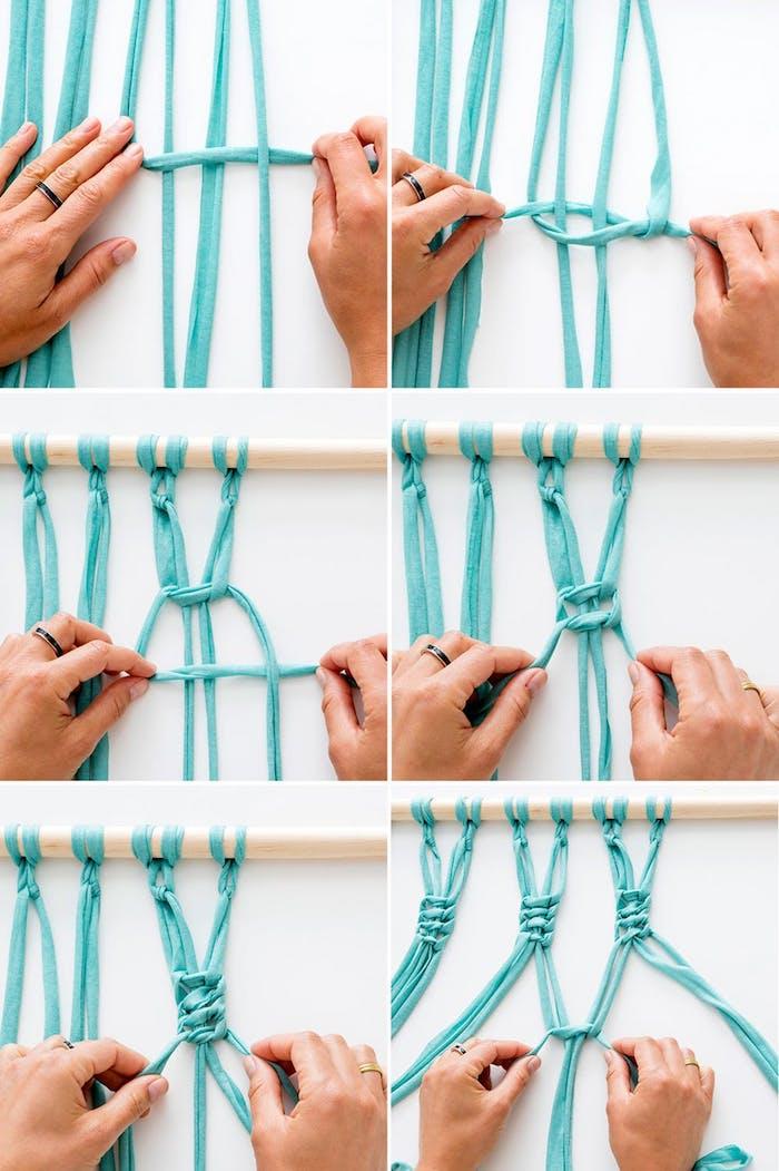 wohnzimmer wanddeko basteln, makramee aus streifen blauem stoff, upcycling ideen, flechttechnik
