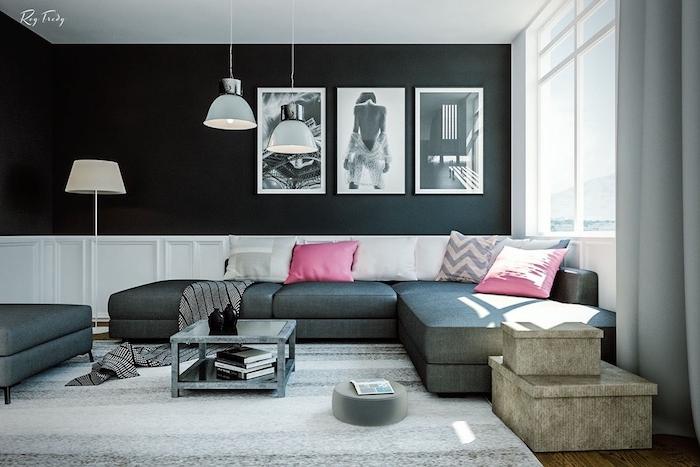 wohnzimmer weiß grau, anthrazit wandfarbe, drei bilder, rosa dekokissen, großer teppich