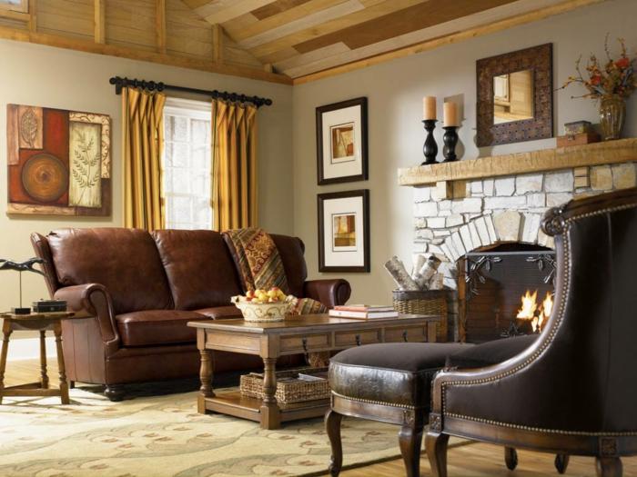 wohnzimmermöbel landhausstil design und dekorationen zum inspirieren, ledersofa, kamin, tisch, wandbilder