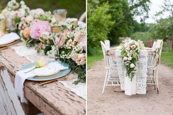 hochzeitstischdeko in rustikalem stil, tischläufer aus spitze, heiraten im garten