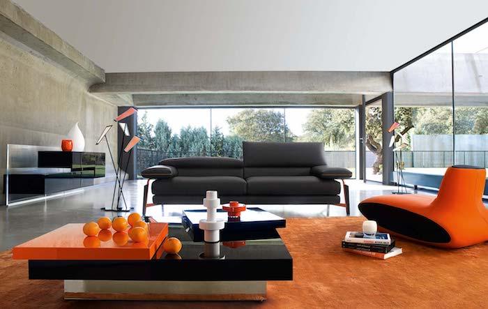 welche farben passt zusammen, designer möbel, grangenfarbener teppich, große fenster, einrinchtungsideen