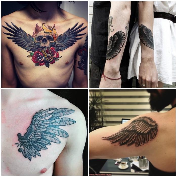 adler tattoo bedeutung, schädel mit roten rosen und adlerflügeln, schulter tätowieren