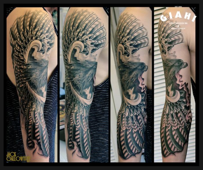 tätowierung an dem ganzen arm, adler tattoo bedeutung, großer vogel als motiv