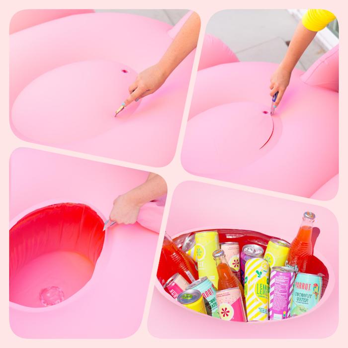 Kühle Getränke in aufblasbarer Flamingo, tolle DIY Idee für die beste Poolparty