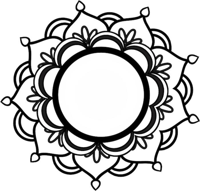 ein bil mit einer großen weißen mandala blume mit schwarzen und weißen blättern, blumen vorlagen zum ausdrucken, mandala zum ausdrucken für erwachsene