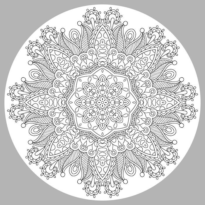 ein bild mit einem großen weißen kreis mit vielen kleinen weißen mandala blumen mit vielen weißen und schwarzen blättern, malvorlagen blumen für erwachsene, blumen zum ausmalen