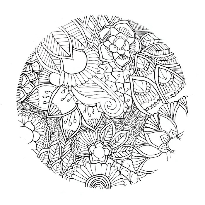 ein ausmalbild mit einem großen kreis mit vielen kleinen und großen weißen blumen, rosen und blättern, mandala zum ausdrucken