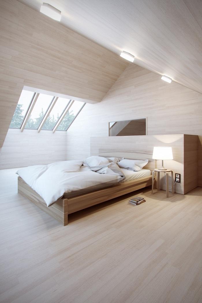 bett für dachschräge, schlafzimmer beleuchtung, boden aus hellem holz, weiße bettwäsche