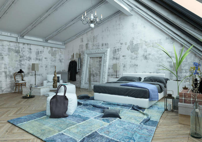 bett für dachschräge, schlafzimmer in modernen industrial stil, weißer bilderrahmen, blauer teppich