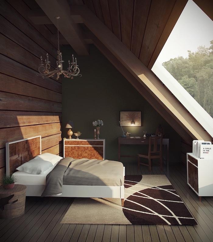 bett unter dachschräge, einrichtung in naturfarben, teppich in beige und braun, kleines zimmer