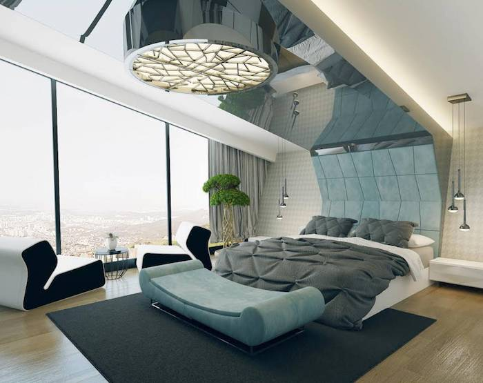 Bett Unter Dachschräge, Moderne Einrichtungsideen, Dunkelgrauer Teppich,  Silberne Pendelleuchten