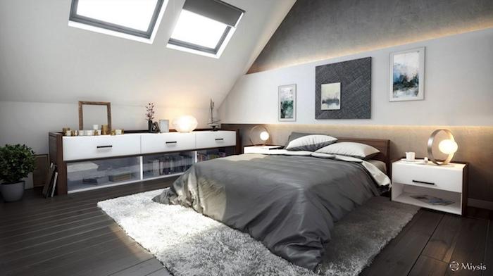 bett unter dachschräge, wand in beton optik mit wandpaneel und led beleuchtung, boden aus holz, kleines zimmer