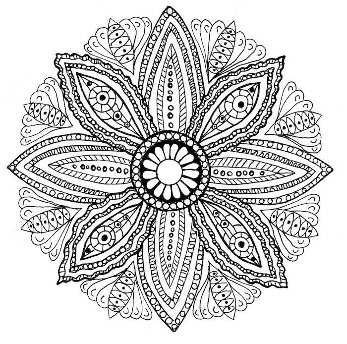 mandala blumen zum ausdrucken, ein ausmalbild mit einer großen weißen mandala blume mit vielen kleinen und großen schwarzen und weißen mandala blumen