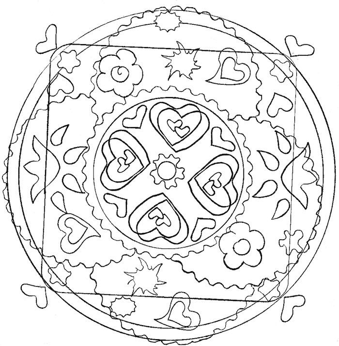 ein weißer kreis mit kleinen weißen und schwarzen herzen und vielen sternen und weißen mandala blumen