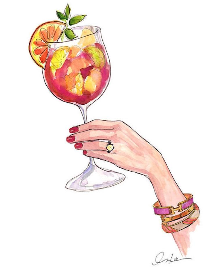 Schönes Bild zum Nachmalen, Frauenhand und Cocktail, drei Armbänder und roter Nagellack