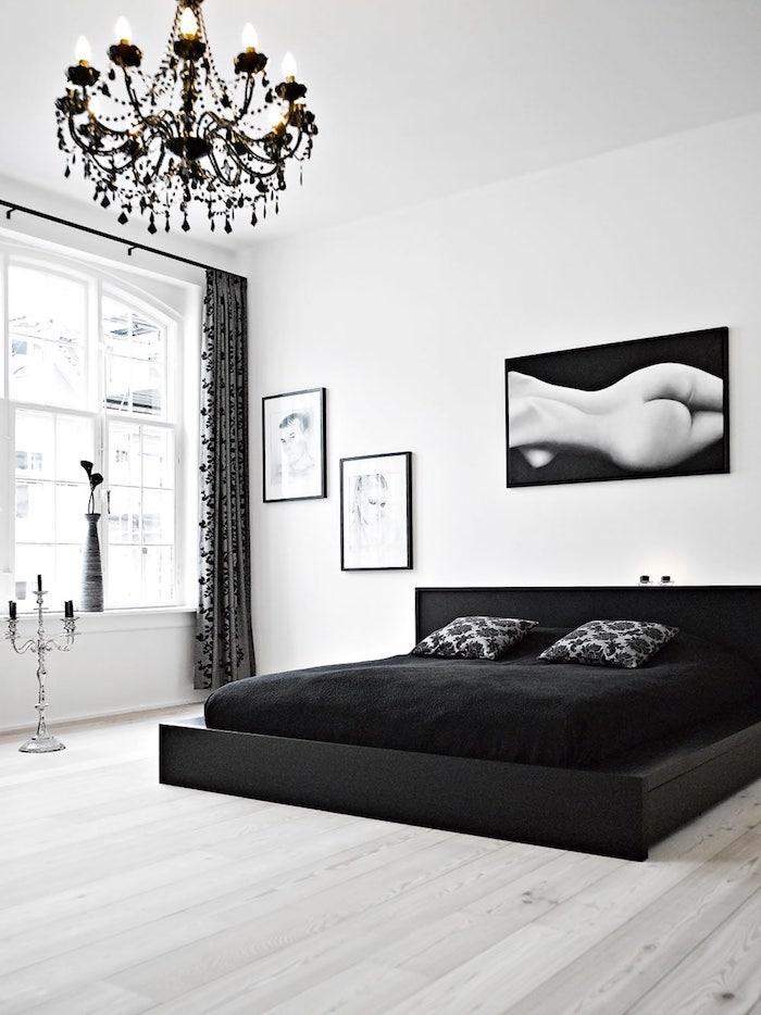 bilder schlafzimmer, schwarzer kronleuchter, einrichtung in weiß und schwarz, fotos