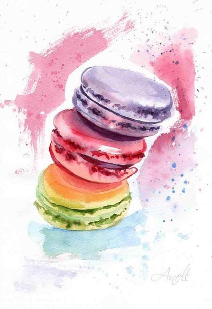 Schöne Zeichnungen, drei französische Macarons, lila rot und grün, Leckereien selber malen