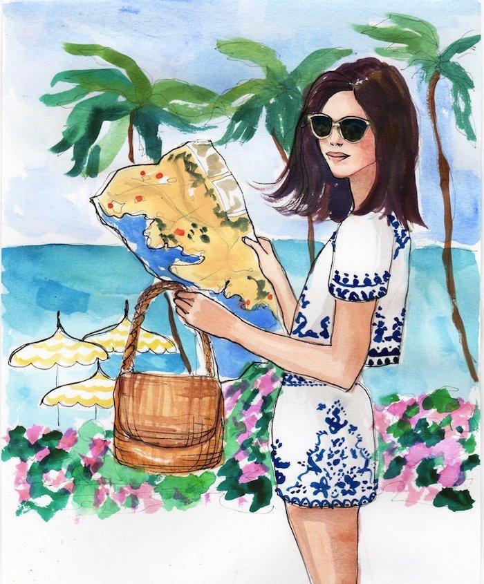 Schönes Bild zum Nachzeichnen, Frau mit Sommer Outfit und Sonnenbrille, Meer und Palmen im Hinterhrund