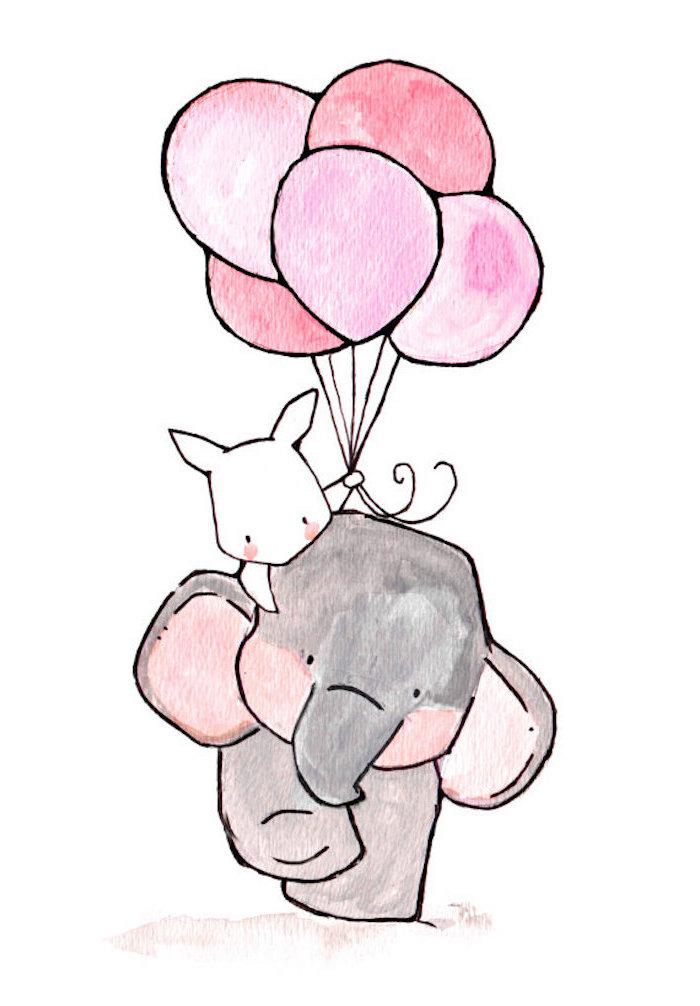 Babys Elefant und Hase, der Hase hält fünf rosafarbene Ballons, schöne Illustration