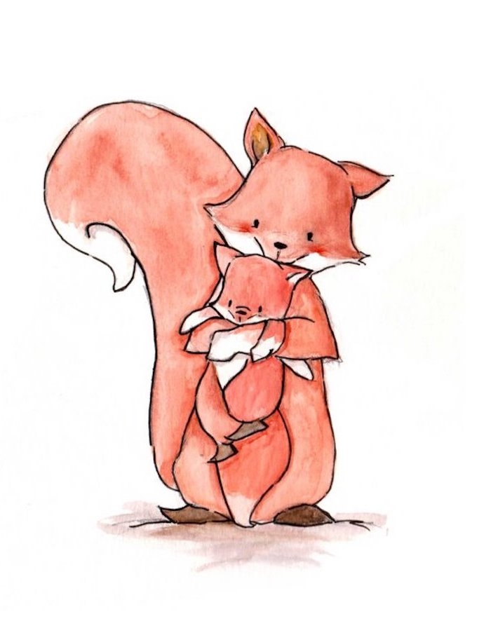 Mutter und Baby Füchse selber malen, schöne Illustration zum Nachmalen, Tiere zeichnen