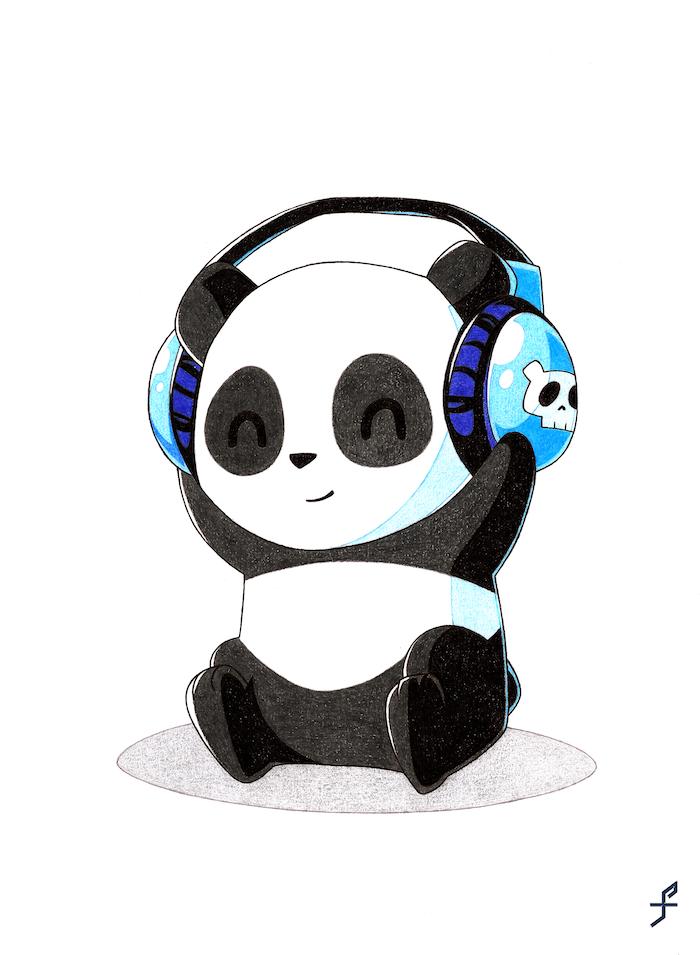 Lustige und leichte Zeichnungen, Panda mit Hörern selber malen, Zeichnung mit Bleistift