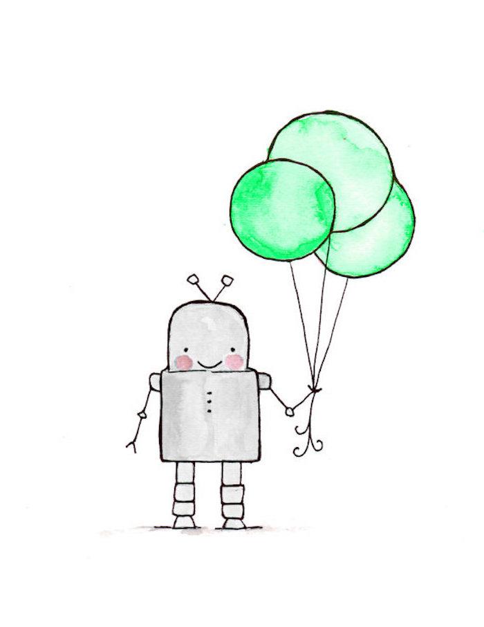 Roboter hält drei grüne Ballons, lustiges Bild zum Nachzeichnen, Bild mit Bleistift