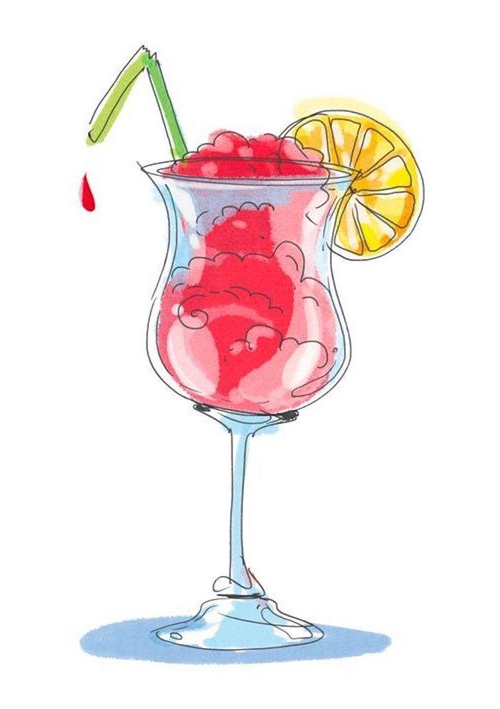 Leichte Zeichnungen, roter Cocktail mit Zitronenscheibe und grünem Strohhalm