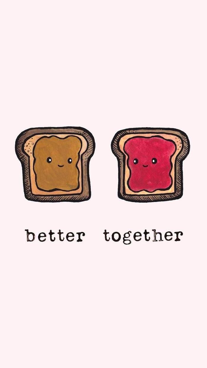 Kawaii Bilder zum Nachmalen, zwei Toasts mit Erdnussbutter und Marmelade, zusammen gehts besser