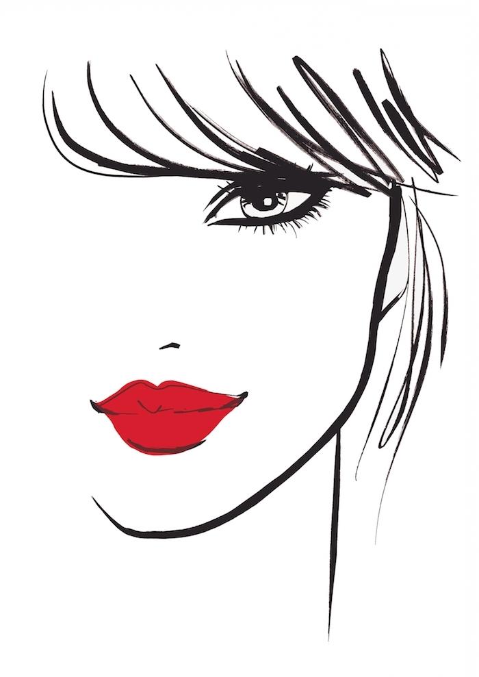 Zeichnungen zum Nachmalen, schönes Frauengesicht, schwarze Haare und knallrote Lippen