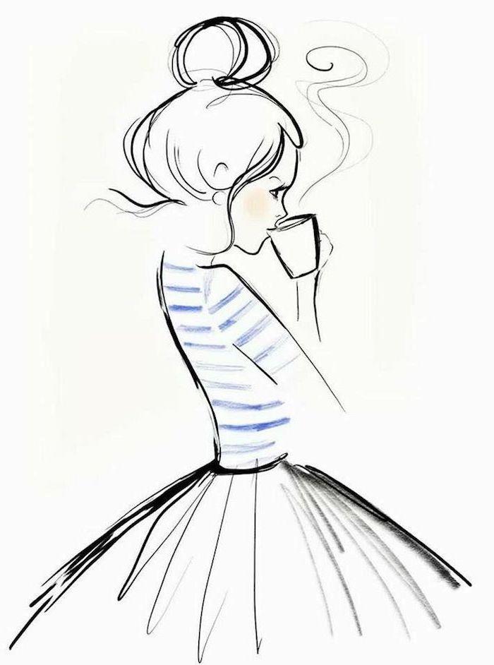Leichte Zeichnungen zum Nachmalen, Mädchen mit gestreifter Bluse und weitem Rock trinkt heißen Kaffee