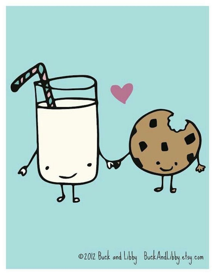 Süßes Kawaii Bild zum Nachmalen, Glas Milch mit Strohhalm und Keks mit Schokoladenstücken
