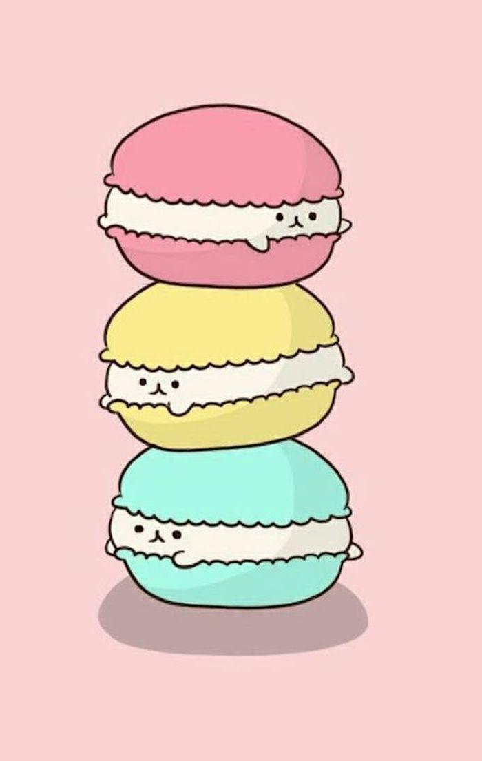 Kawaii Bild zum Nachzeichnen, drei französische Macarons, rot gelb und grün