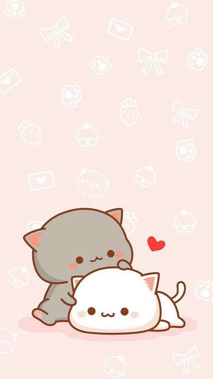 Süßes Kawaii Bild zum Nachzeichnen, graue und weiße Katze in Umarmung, kleines rotes Herz