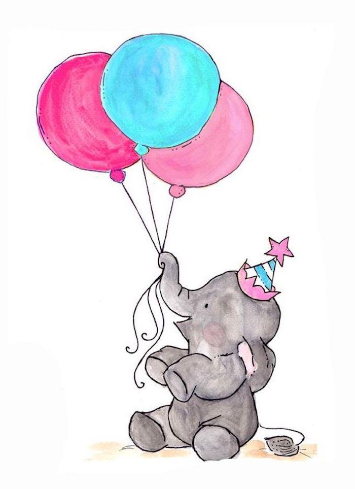Schöne Zeichnungen, Baby Elefant mit Partyhütchen hält drei Ballons