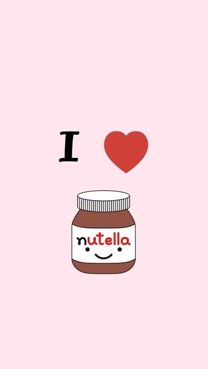 Süßes Kawaii Bild zum Nachzeichnen, Nutella mit Augen und Mund, I love Nutella